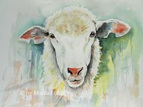 Nutztier, Aquarellmalerei, Käse, Weiß
