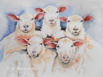 Tiere, Vieh, Malerei, Natur