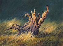 Baumstumpf, Acrylmalerei, Natur, Landschaft