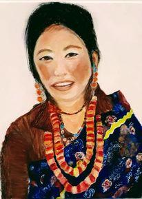 Tibeterin, Acrylmalerei, Malerei, Welt