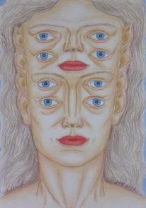 Zeichnung, Polychromos, Mythologie, Augen