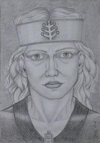 Bleistiftzeichnung, Mythologie, Lumograph, Frigg