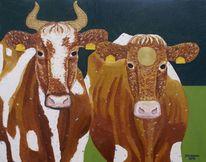 Tiere, Kuh, Malerei