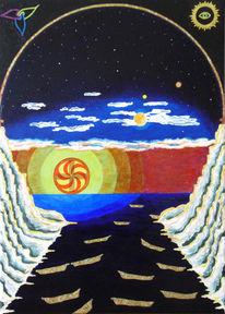 Sonnenuntergang, Überfahren, Lasurtechnik, Malerei