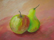 Apfel, Birne, Grün, Früchte