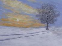 Himmel, Wolken, Winterabend, Baum