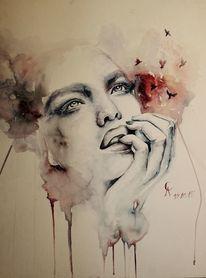 Menschen, Frau, Zeichnung, Traum