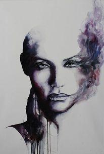 Malerei, Frau, Aquarellmalerei, Rauch