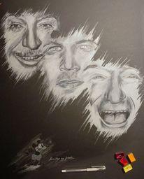 Schwarz weiß, Zeichnung, Menschen, Stern