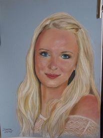 Blond, Portrait, Mädchen, Kreide