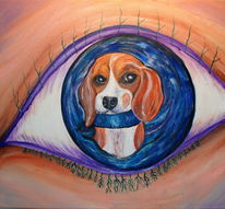 Hund, Augen, Surreal, Beagle