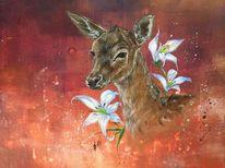 Wildtiere, Reh, Malerei, Kitsch
