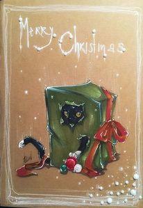 Katze, Schwarz, Geschenk, Zeichnungen