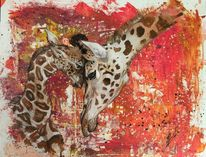 Wildtiere, Afrika, Giraffe, Malerei