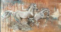 Pferde, Tiere, Weiß, Malerei