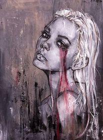 Frau, Fantasie, Acrylmalerei, Malerei