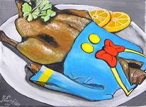 Acrylmalerei, Veganismus, Ente, Konsum