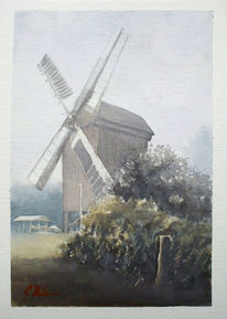 Windmühle, Aquarellmalerei, Landschaft, Aquarell