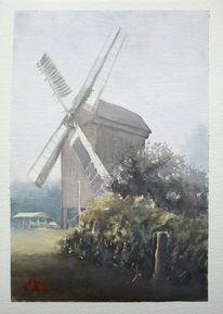 Aquarellmalerei, Landschaft, Windmühle, Mühle