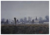 Weite, Wiese, Winter, Kleinstadt