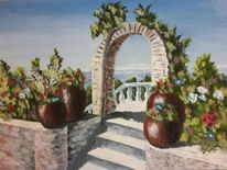 Meer, Blumen, Mediterran, Malerei