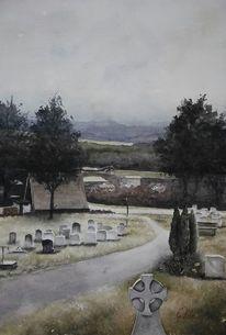 Perspektive, Gräber, Friedhof, Berge