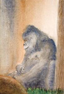 Aquarellmalerei, Tiere, Gorilla, Aquarell