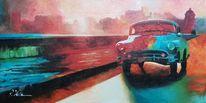 Sonnenuntergang, Acrylmalerei, Bunt, Straße