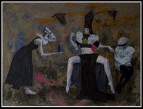 Dunkel, Acrylmalerei, Pouring, Apokalypse