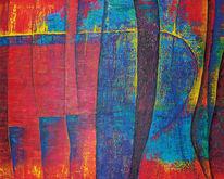 Acrylmalerei, Abstrakt, Struktur, Rot
