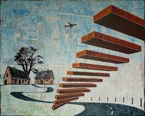 Treppe, Häuser, Baum, Flugzeug