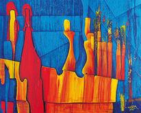 Abstrakt, Rot, Gelb, Hellblau