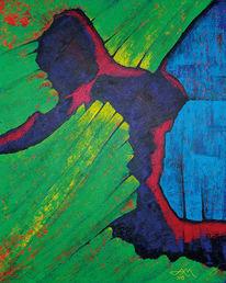 Abstrakt, Blau, Grün, Acrylmalerei
