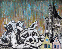 Kölner altstadt, Gargoyle, Steinfigur, Köln