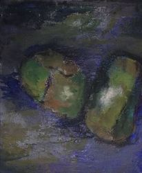 Komposition, Blau, Acrylmalerei, Malerei