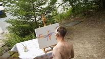 Abstrakt, Prägen, Ölmalerei, Hadesl