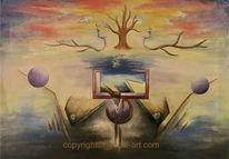Formen, Frau, Ölmalerei, Baum