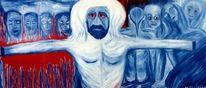 Menschen, Malerei, Blau, Rot