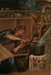Menschen, Arbeit, Pastellmalerei, Malerei