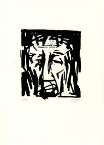 Passion, Linolschnitt, Jesus mit dornenkrone, Jesus christus