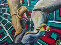 Kuss, Traum, Schuhe, Malerei