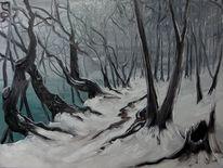 Schnee, Weg, Malerei