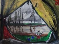 Zelt, See, Finnland, Malerei