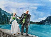 Berge, Aquarellmalerei, Hochzeit, Aquarell