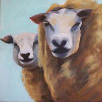 Malerei, Schaf, Acrylmalerei
