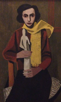 Ölmalerei, Frau, Schal, Gelb