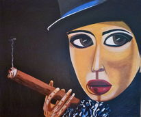 Menschen, Farben, Lady smoke 2, Abstrakt