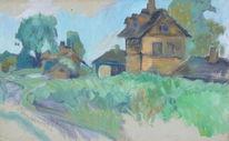Bahnhof, Wiese, Häuser, Baum
