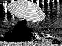 Steg, Strand, Sonnenschirm, Paar