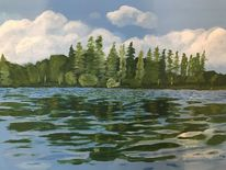 Wolken, Acrylmalerei, Wasser, Landschaft